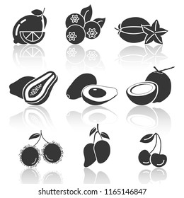 fruit icons,shadow,lemon,blueberry,carambola,papaya,avocado,coconut,rambutan,mango,cherry,vector illustrations