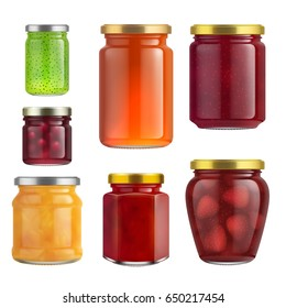 Fruit jam jar glass isolated on white background. Vector packaging mockup with realistic jam jar