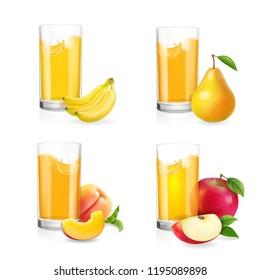 Fruit juice in glass set. Banana, apple, pear, peach drink.