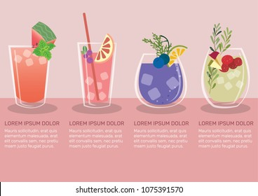 Fruit juice infographic vector illustration. Set of fruit juice vector. Watermelon, pomegranate, blackcurrant, blueberry, redberry, and apple juice.