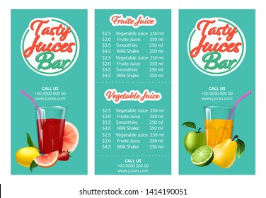 Fruit juice menu.Template café or restaurant menu