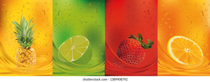 Fruit juice, pineapple, lime, orange, strawberry.3d fresh fruits. Fruit splashes close up. Vector illustration.
