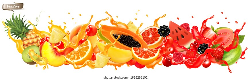 Fruit in juice splash panorama. Strawberry, raspberry, blueberry, blackberry, orange, guava, watermelon, pineapple, mango, peach. Vector.