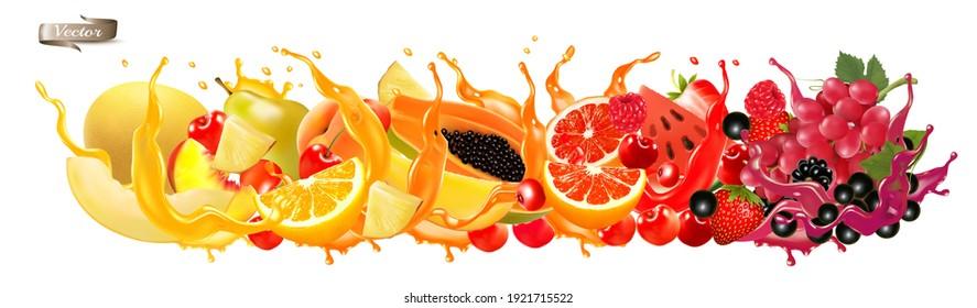 Fruit in juice splash panorama. Strawberry, raspberry, blueberry, blackberry, orange, guava, citron, grape, watermelon, honey melon, mango, peach. Vector.