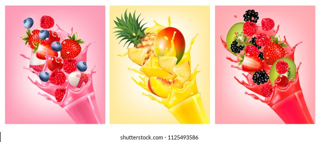 Fruit in juice splashes. Strawberry, guava, watermelon, pineapple, mango, peach, raspberry, blackberry. Vector.