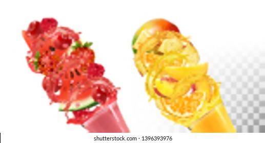 Fruit in juice splashes. Strawberry, raspberry, watermelon, pineapple, mango, peach. Vector.
