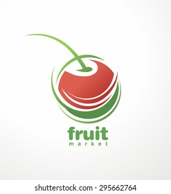 Fruit and juice symbol with fresh cherry. Organic food unique icon, sign or logo design.