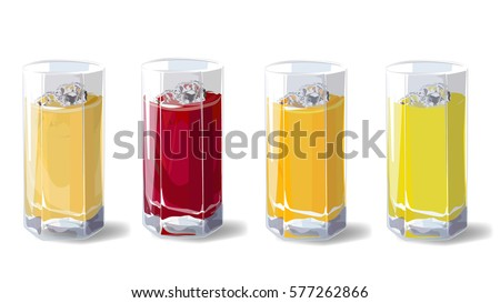 Fruit juices. A set of glasses with fruit juice, apple, cherry, orange and pineapple. Vector