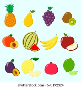 Fruit juicy and ripe collected in a set of icons. / Fruits, a set of icons.