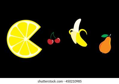 Fruit. Lemon, cherry, banana and pear on a black background.  Vector illustration