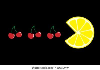 Fruit. Lemon and cherry on a black background. Vector illustration