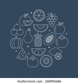 fruit line icon circle set