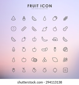 fruit line icons on gradient background