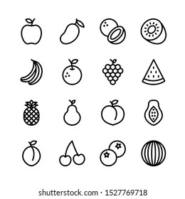 Fruit line icons set, outline style. Vector Illustration