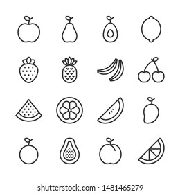 Fruit line icons set vector illustration. Contains such icon as apple, banana, mango, orange, pear and more. Editable stroke