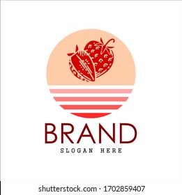 Fruit logo, strawberry logo. strawberry with pink sunset ilustration, brand and white background
