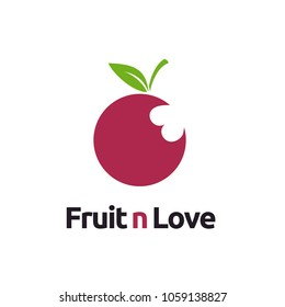 Fruit and Love Bite Marks for Vegetarian Healthy logo design inspiration