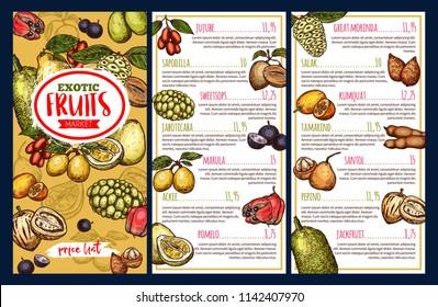 Fruit market price list template with exotic tropical berries. Pomelo, jackfruit and marula, tamarind, sweetsop and jaboticaba, jujube, ackee and salak, pepino, morindo, sapodilla and santol sketch