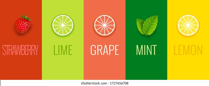 Fruit mint lime lemon or grape juice sticker flavor icon. Fruit logo label vitamin