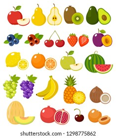 Fruit on a white background isolated. Vector illustration