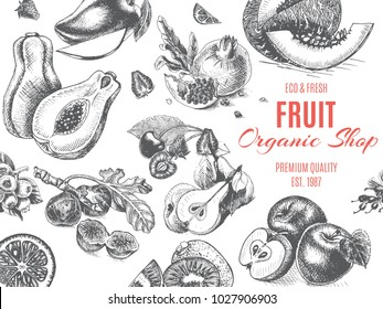 Fruit organic shop. Banner sketch drawn.