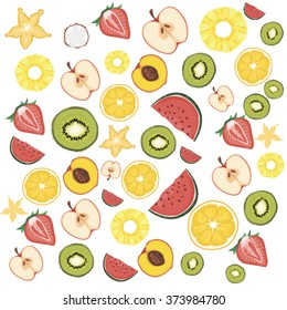 FRUIT PATTERN, FRUIT BACKGROUND, VECTOR ILLUSTRATION, ISOLATED OBJECTS