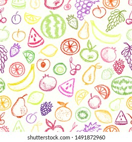 Fruit pattern children drawling style. Colorful bright background. Crayons style icon on white backdrop. Grape, apricot, apple, pear, cherry, watermelon. Seamless texture with hand drawn elements.