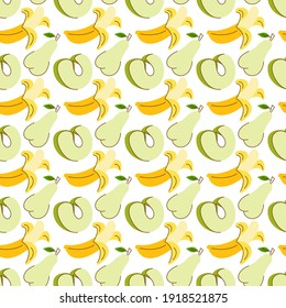 fruit pattern with colorful, water apple, banana, avocado. Summer bright color seamless pattern with watermelon, lemon and pineapple.