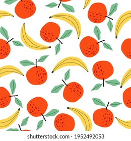 Fruit pattern, Oranges, bananas and green leaves, seamless print, ideal for decoration, application on fabric or paper