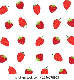 Fruit pattern.Cute fresh strawberry and raspberry isolated on white background.Design for print or screen backdrop ,fabric and tile wallpaper.Cartoon fruits.Vector.Illustration.