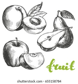 fruit peach, apple, pear set hand drawn vector illustration realistic sketch