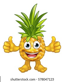 A fruit Pineapple mascot character cartoon giving a thumbs up