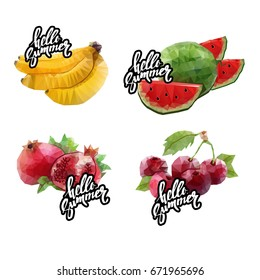 fruit platter with a lot of fruits. Vector illustration