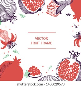 Fruit pomegranate text frame hand drawn flat template. Rosh hashana card - Jewish New Year. Vector design with botanical illustration of pomegranate. For business, posters, covers, web and flyer print