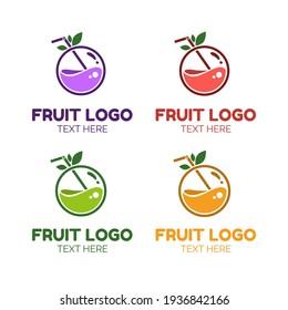 fruit potion liquid juice logo simple concept design vector illustration