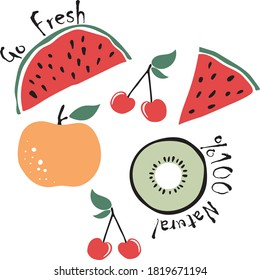 Fruit Print with watermelon peach cherry and kiwi - Fresh Slogan Graphic illustration for Tee / T Shirt