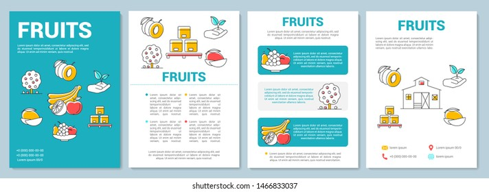 Fruit production template layout. Farming organic produce. Flyer, booklet, leaflet print design with linear illustrations. Vector page layouts for magazines, annual reports, advertising posters