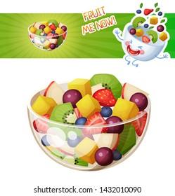 Fruit salad cartoon vector illustration. Summer salad with kiwi, mango, strawberry, blueberry, red apple, grape ingredinets food icon isolated on white background. Funny fruit bowl character