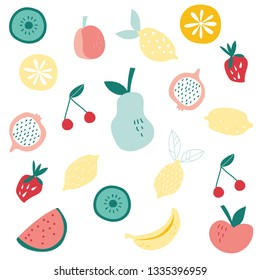 Fruit salad vector illustration healthy summer design for kitchen fabrics, home textilies, bedding, fashion, wrapping paper, greeting cards, stationery products, wallpaper, book illustration