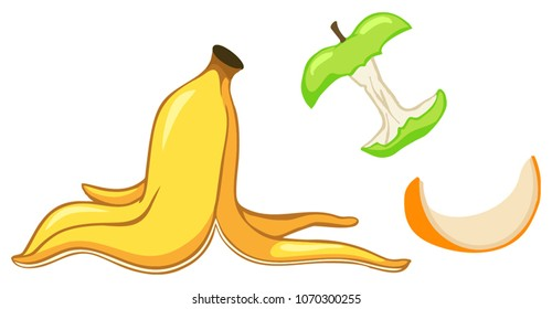Fruit scraps. Organic waste, food compost collection isolated on white background. Banana and orange rind, apple stump vector illustration