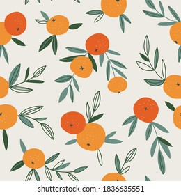 Fruit seamless pattern in neutral pastel colors. Vector hand-drawn orange repeat background. Tropical garden print design.