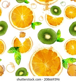Fruit seamless pattern of orange and kiwi slices, summer composition of fruits and vitamins, orange and green color of your fantasies! handiwork
