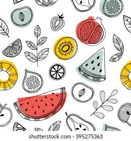 Fruit seamless pattern. Scandinavian style pattern. Vector illustration