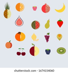 fruit set of 18 pieces: peach, raspberry, grape, kiwi, cherry, apple, blackberry, watermelon, physalis, pineapple, orange, pomegranate, banana, Figs, strawberry, pear, lemon, persimmon. Vector.