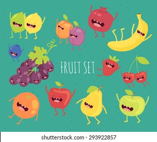 Fruit set. Apple, lemon, lime, pear, plum, apricot, blueberry, strawberry, pomegranate, grape, cherry, banana, orange, lime. Cartoon. Friends forever. Comic characters.