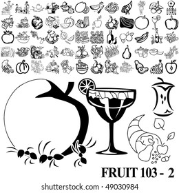 Fruit set of black sketch. Part 103-2. Isolated groups and layers.