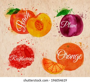 Fruit set drawn watercolor blots and stains with a spray peach, raspberry, plum, orange in kraft