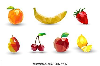 Fruit set of polygons . Apple, lemon , cherry, banana, orange, strawberry and pear. Vector Illustration