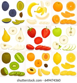 Fruit set. Whole, sliced and chopped various fruit. Vector illustration