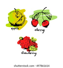 Fruit sketch set with colored fill. Vector illustration
